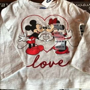 Old Navy Minnie & Mickey long sleeve shirt 12-18 m